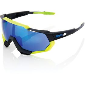 100% Speedtrap Cykelbriller, polished black/matte neon yellow | mirror